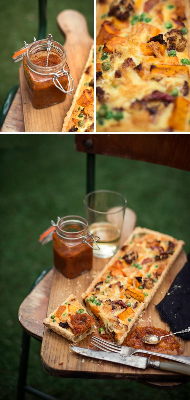 Cauliflower, Pumpkin & Caramelized Onion Tart | Adeline & Lumiere